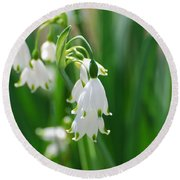 Snow Drop Lily Round Beach Towel