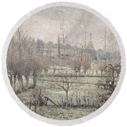Snow Effect At Eragny Round Beach Towel