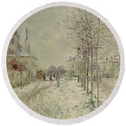Snow Effect Round Beach Towel by Claude Monet