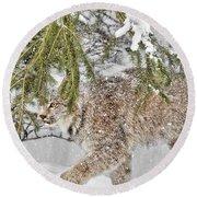 Snow Fall Round Beach Towel