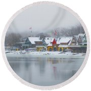 Snow Falling On Boathouse Row Round Beach Towel