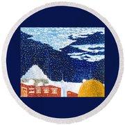 snow falling on Istanbul Round Beach Towel
