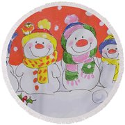 Snow Family Round Beach Towel by Diane Matthes