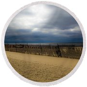 Snow Fence II Round Beach Towel