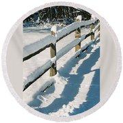 Snow Fence Round Beach Towel