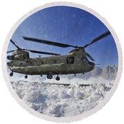 Snow Flies Up As A U.s. Army Ch-47 Round Beach Towel