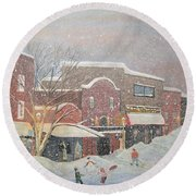 Snow For The Holidays Painting Round Beach Towel