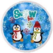 Snow Fun Penguins Round Beach Towel