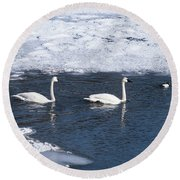 Snow Geese On The Move Round Beach Towel