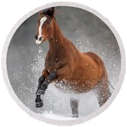 Snow Horse Round Beach Towel