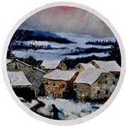 Snow In Ardennes 79 Round Beach Towel