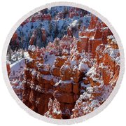 Snow In Bryce Canyon Round Beach Towel