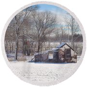 Snow In Plymouth Meeting Round Beach Towel