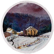 Snow In Sechery Round Beach Towel