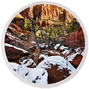Snow In The Canyons Round Beach Towel
