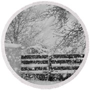Snow In The Country Round Beach Towel