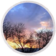 Snow In The Distance Round Beach Towel