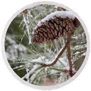 Snow In The Pines Round Beach Towel
