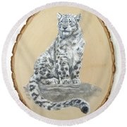Snow Leopard - Renewed Perception Round Beach Towel