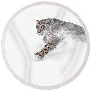 Snow Leopard Snowplow Round Beach Towel