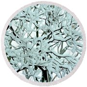 Snow On Branches Round Beach Towel