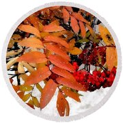Snow On Scarlet Magick Round Beach Towel