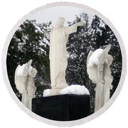 Snow On The Angels  Round Beach Towel