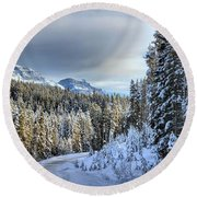 Snow On The Bow Valley Parkway Round Beach Towel