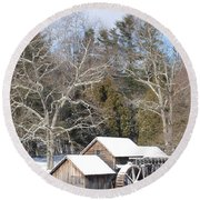 Snow On The Mill 2 Round Beach Towel