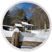 Snow On The Old Time Mill Round Beach Towel
