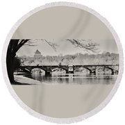 Snow On The River Round Beach Towel