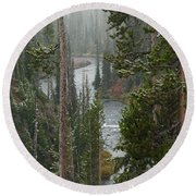 Snow On The Yellowstone River Round Beach Towel