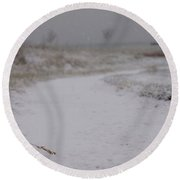 Snow Path Round Beach Towel