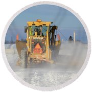 Snow Plowing Round Beach Towel