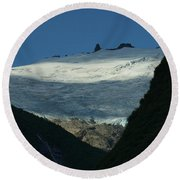 Snow Rock And Shadow Round Beach Towel