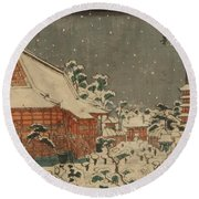 Snow Scene At Sens Ji Temple At Kinry Zan In The Eastern Capital Round Beach Towel