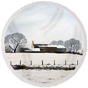 Snow Scene Barkisland Round Beach Towel