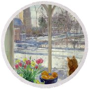 Snow Shadows And Cat Round Beach Towel