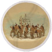 Snow Shoe Dance. Ojibbeway Round Beach Towel