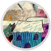 Snow Shovel Round Beach Towel