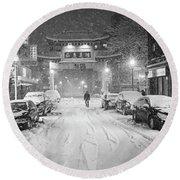 Snow Storm In Chinatown Boston Chinatown Gate Black And White Round Beach Towel