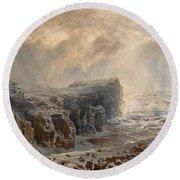 Snow Storm On A Northern Coast Round Beach Towel