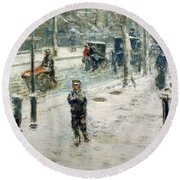Snow Storm On Fifth Avenue Round Beach Towel by Childe Hassam