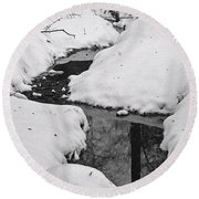 Snow Stream 2 Round Beach Towel