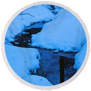 Snow Stream Round Beach Towel