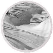 Snow Swirls Round Beach Towel