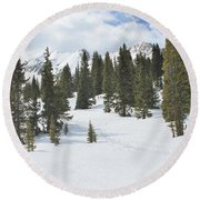 Snow Trail Round Beach Towel