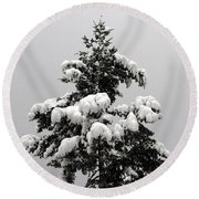 Snow Tree Round Beach Towel