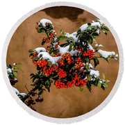 Snowberries Round Beach Towel