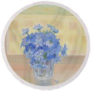 Snowdrops In A Glass Round Beach Towel